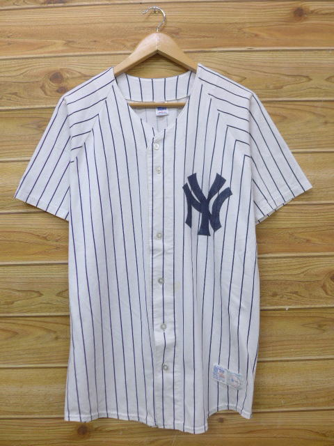 L★古着 半袖 ベースボール シャツ 90年代 ラッセル MLB ニューヨークヤンキース 白 ホワイト ストライプ メジャーリーグ ベースボール 野球 18may29 中古 メンズ トップス