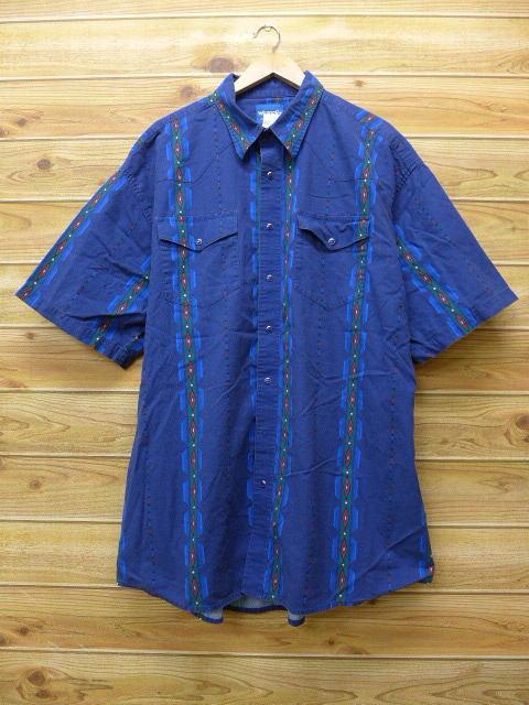 XL★古着 半袖 ウエスタン シャツ ラングラー Wrangler ネイティブ柄 大きいサイズ 紺 ネイビー 18jun06 中古 メンズ トップス