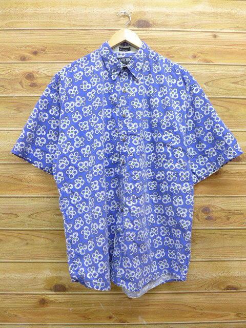 XL★古着 半袖 ペリーエリス シャツ 花 大きいサイズ 青 ブルー 18jun08 中古 メンズ トップス