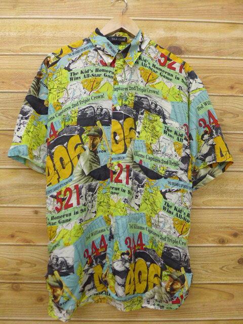 XL★古着 半袖 シャツ MLB メジャーリーグ テッドウィリアムス 地図 シルク 薄紺他 ネイビー 18jun11 中古 メンズ トップス