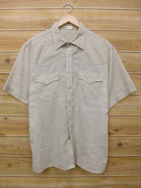 XL★古着 半袖 ウエスタン シャツ 80年代 シアーズ キングスロード 大きいサイズ ベージュ カーキ 18jun11 中古 メンズ トップス