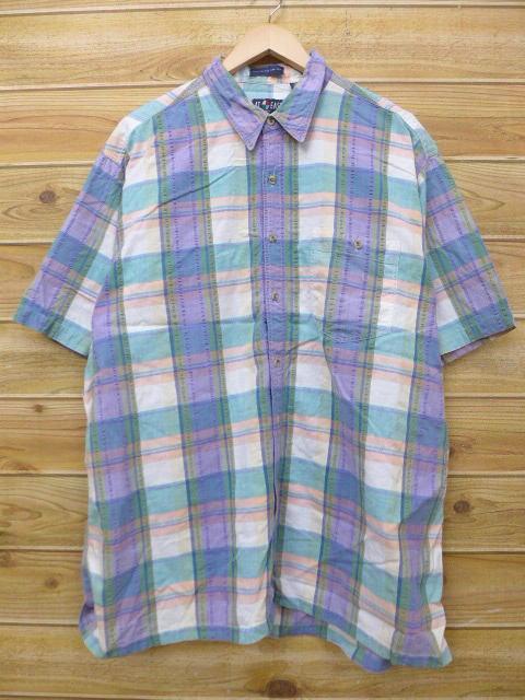 XL★古着 半袖 シャツ 大きいサイズ 緑他 グリーン チェック 18jun11 中古 メンズ トップス