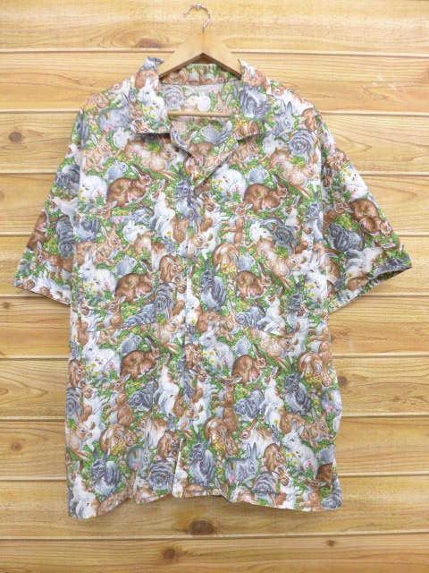 XL★古着 半袖 シャツ ウサギ 大きいサイズ 緑他 グリーン 【spe】 18jun11 中古 メンズ トップス