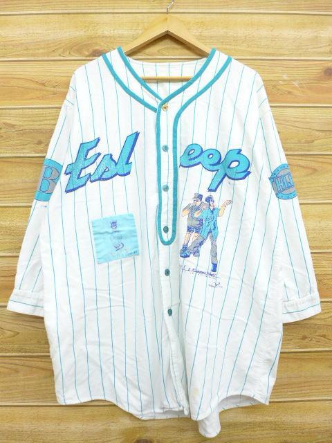 XL★古着 7分袖 ベースボール シャツ 90年代 ラッパー 男女 大きいサイズ 白 ホワイト ストライプ 【spe】 18jun14 中古 メンズ トップス