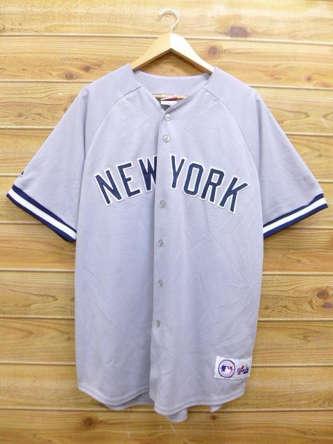 XL★古着 半袖 ベースボール シャツ MLB ニューヨークヤンキース 大きいサイズ USA製 グレー 【spe】 メジャーリーグ 野球 18aug07 中古 メンズ トップス