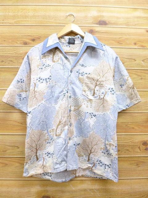 L★古着 半袖 シャツ 70年代 木 水色系 sh70s 18aug07 中古 メンズ トップス
