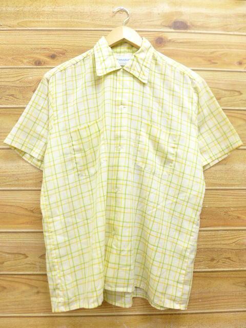 L★古着 半袖 シャツ 70年代 マンハッタン 黄緑 チェック shvs 18aug07 中古 メンズ トップス