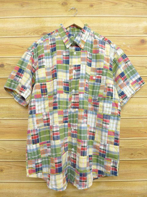 XL★古着 半袖 シャツ オービス ORVIS パッチワーク 大きいサイズ 緑 グリーン チェック 【spe】 18jun27 中古 メンズ トップス