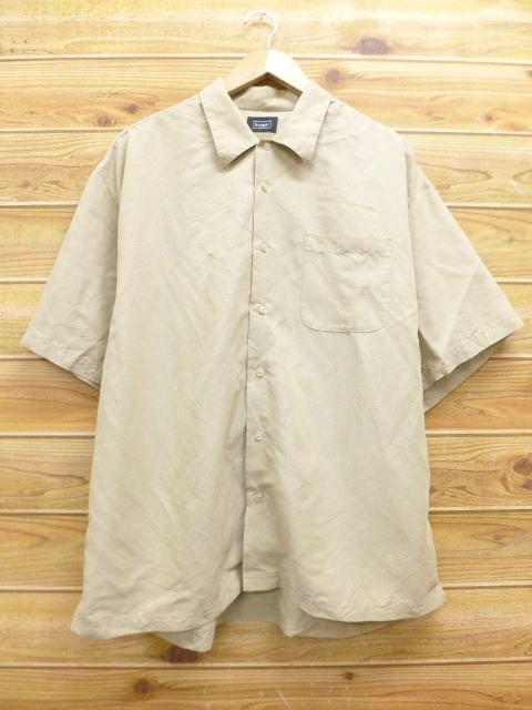 XL★古着 半袖 シャツ haggar 大きいサイズ レーヨン ベージュ カーキ 18jun28 中古 メンズ トップス