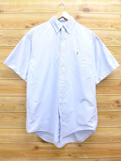 XL★古着 半袖 シャツ 90年代 ラルフローレン Ralph Lauren ロゴ 大きいサイズ 水色系 18jun28 中古 メンズ トップス