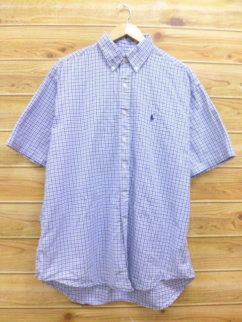 XL★古着 半袖 シャツ 90年代 ラルフローレン Ralph Lauren ロゴ 大きいサイズ 紺 ネイビー チェック 18jun28 中古 メンズ トップス