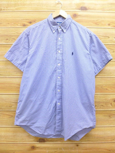 XL★古着 半袖 シャツ 90年代 ラルフローレン Ralph Lauren ロゴ 大きいサイズ 薄紺 ネイビー チェック 18jun28 中古 メンズ トップス