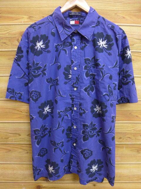 XL★古着 半袖 シャツ 90年代 トミーヒルフィガー TOMMY HILFIGER 花 大きいサイズ 紫系 パープル 18jul04 中古 メンズ トップス