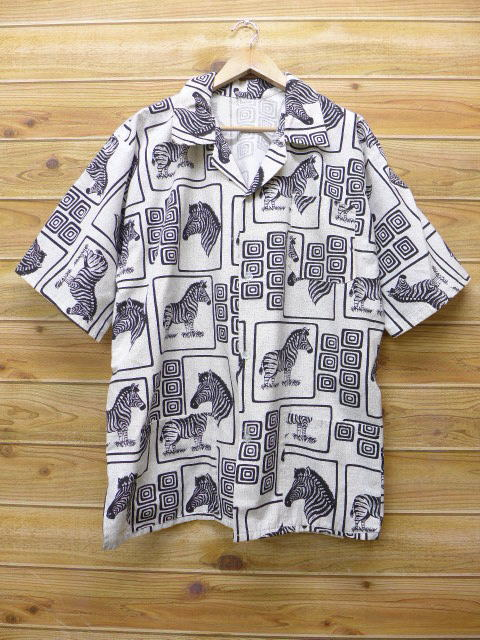 XL★古着 半袖 シャツ シマウマ 大きいサイズ 白 ホワイト 18jul06 中古 メンズ トップス