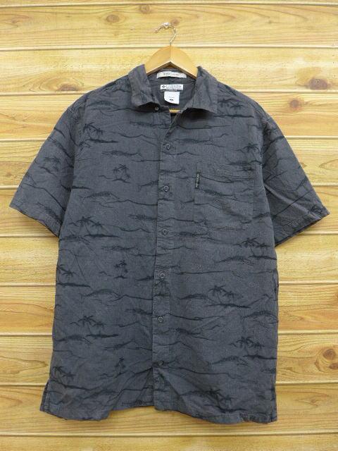 L★古着 半袖 シャツ コロンビア COLUMBIA ヤシの木 魚 黒 ブラック 18jul09 中古 メンズ トップス
