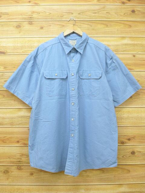 XL★古着 半袖 シャツ エルエルビーン LLBEAN 大きいサイズ 水色 18jul11 中古 メンズ トップス
