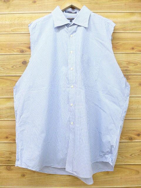 XL★古着 ノースリーブ シャツ トミーヒルフィガー TOMMY HILFIGER 大きいサイズ 薄紺 ネイビー チェック 18jul11 中古 メンズ トップス
