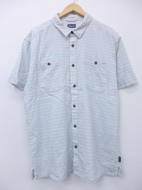 XL★古着 半袖 シャツ パタゴニア patagonia 水色 チェック 【spe】 19apr12 中古 メンズ トップス