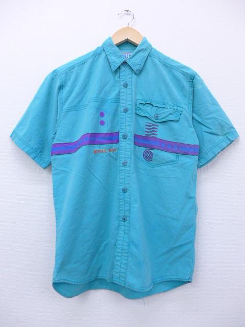 M★古着 半袖 シャツ 90年代 ビューグルボーイ 青緑系 【spe】 19apr12 中古 メンズ トップス