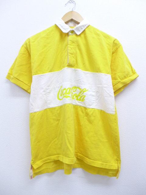 M★古着 半袖 ラガー シャツ 90年代 コカコーラ ドゥーイパーク 9 ハンガリー製 黄 イエロー 【spe】 19jun10 中古 メンズ トップス
