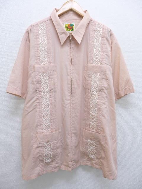 XL★古着 半袖 キューバ シャツ 刺繍 大きいサイズ ピンク系 19jun19 中古 メンズ トップス