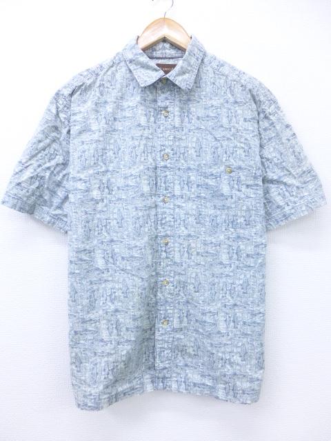 XL★古着 半袖 シャツ 魚 グレー系 19aug27 中古 メンズ トップス