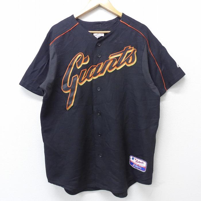 XL★古着 半袖 ベースボール シャツ 90年代 90s マジェスティック MLB サンフランシスコジャイアンツ 15 ラグラン USA製 黒 ブラック メジャーリーグ 野球 【spe】 21apr06 中古 メンズ トップス
