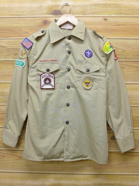 S★古着 長袖 ボーイスカウト シャツ 90年代 イリノイ USA製 ベージュ カーキ 18apr10 中古 メンズ トップス