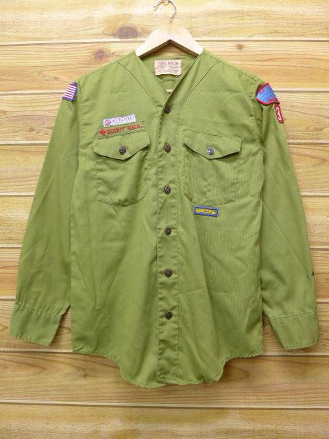 S★古着 長袖 ボーイスカウト シャツ 80年代 マサチューセッツ USA製 緑 グリーン 18jun08 中古 メンズ トップス
