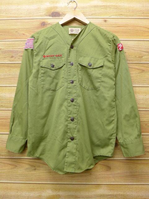 S★古着 長袖 ボーイスカウト シャツ 80年代 USA製 緑 グリーン 18jun08 中古 メンズ トップス
