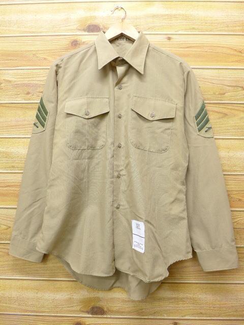 L★古着 長袖 ミリタリー シャツ 90年代 USA製 ベージュ カーキ 18jun08 中古 メンズ トップス