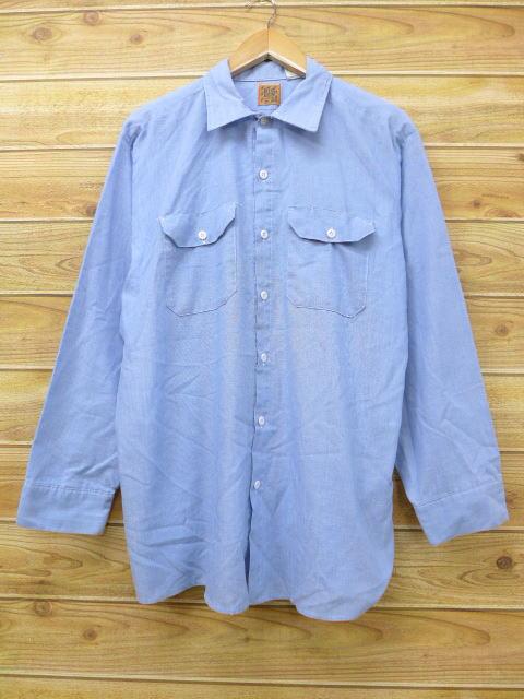 XL★古着 長袖 シャンブレー シャツ 80年代 ラングラー Wrangler 大きいサイズ USA製 薄紺 ネイビー 18jul05 中古 メンズ トップス