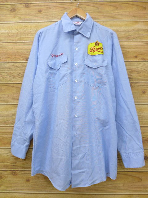 L★古着 長袖 ワーク シャツ 80年代 ストローズ ビール USA製 薄紺 ネイビー 18jul05 中古 メンズ トップス