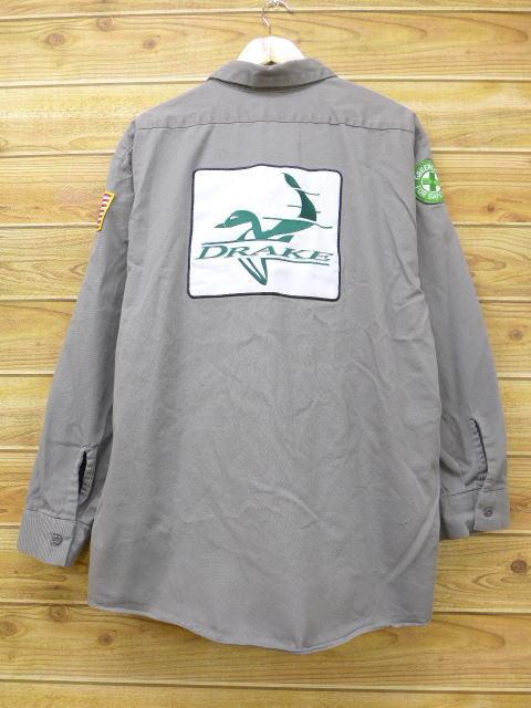 XL★古着 長袖 ワーク シャツ レッドキャップ DRAKE 大きいサイズ グレー 【spe】 18jul05 中古 メンズ トップス