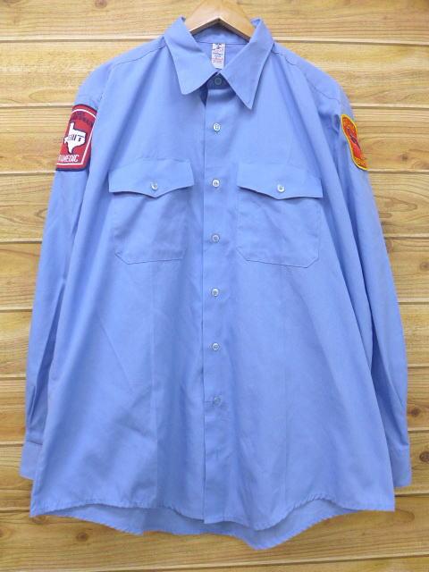 XL★古着 長袖 ワーク シャツ テキサス 大きいサイズ USA製 水色 18jul09 中古 メンズ トップス