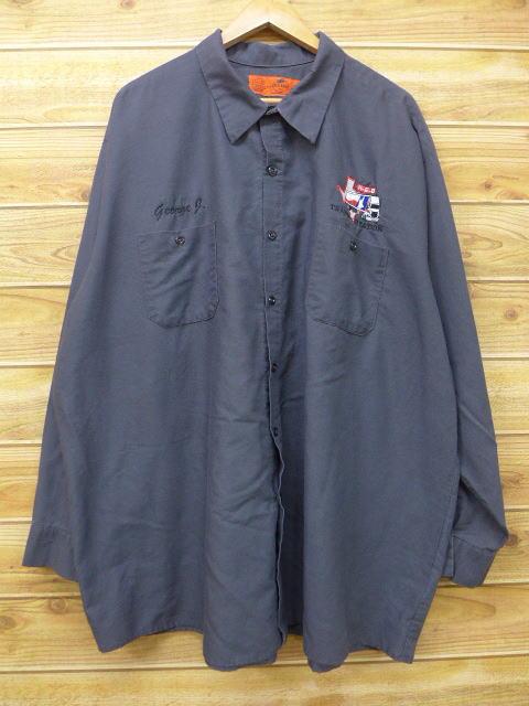 XL★古着 長袖 ワーク シャツ レッドキャップ トランスポーテーション 大きいサイズ グレー 18jul09 中古 メンズ トップス