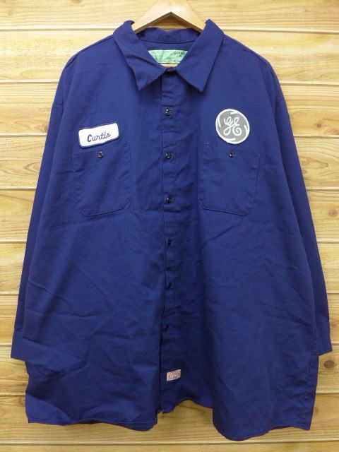 XL★古着 長袖 ワーク シャツ レッドキャップ CUR 大きいサイズ 紺 ネイビー 18jul09 中古 メンズ トップス