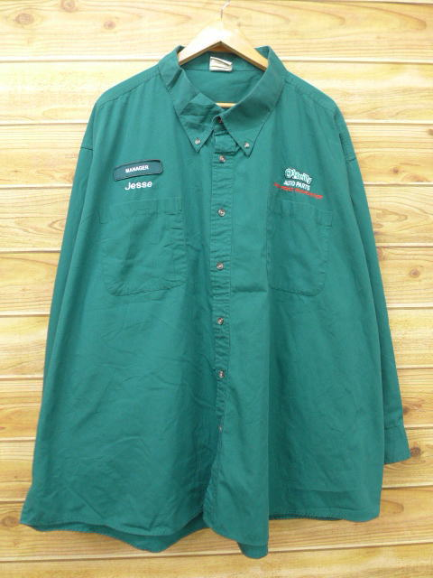 XL★古着 長袖 ワーク シャツ マネージャー Jesse 大きいサイズ 緑 グリーン 18jul09 中古 メンズ トップス