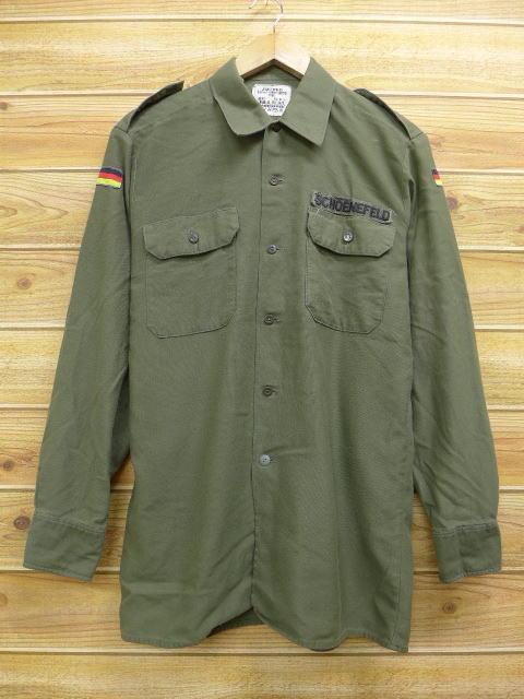 M★古着 長袖 ミリタリー シャツ 80年代 ドイツ軍 緑 グリーン 18jul12 中古 メンズ トップス