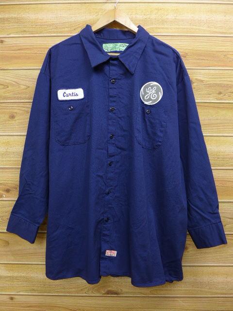 XL★古着 長袖 ワーク シャツ レッドキャップ 大きいサイズ 紺 ネイビー 18jul12 中古 メンズ トップス