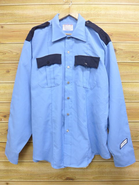 XL★古着 長袖 ワーク シャツ 80年代 大きいサイズ USA製 薄紺 ネイビー 18jul12 中古 メンズ トップス
