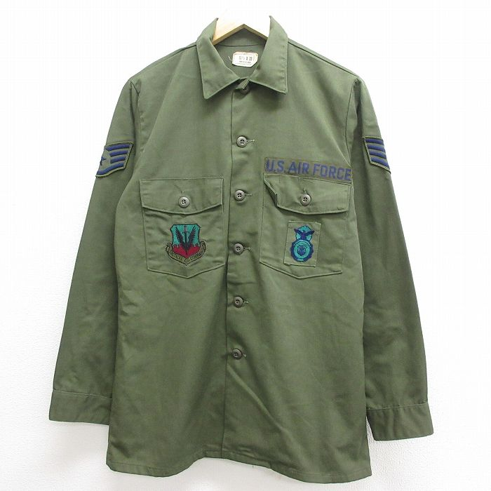 L★古着 長袖 ミリタリーシャツ メンズ 70年代 70s USエアフォース ユーティリティ USA製 緑 グリーン 【spe】 21sep13 中古 トップス