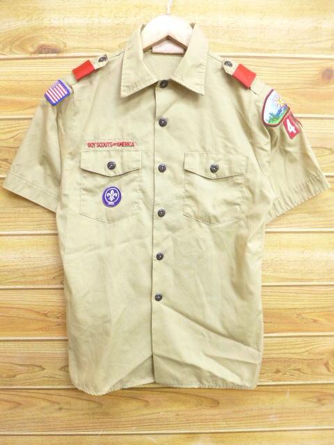 M★古着 半袖 ボーイスカウト シャツ イリノイ USA製 ベージュ カーキ 18apr10 中古 メンズ トップス