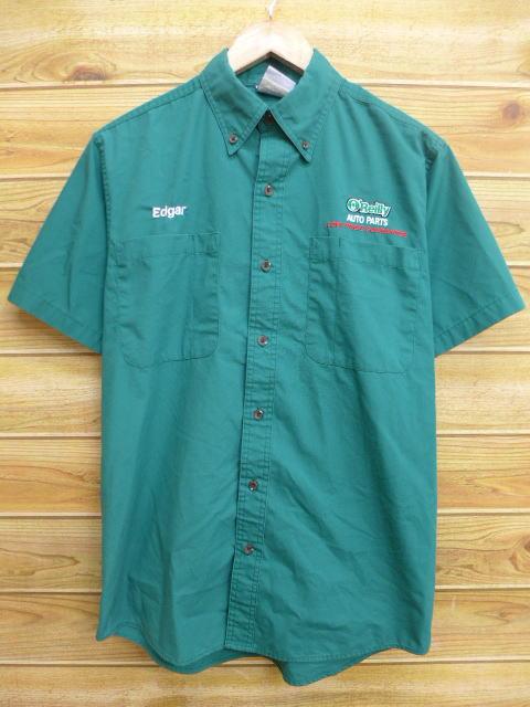 L★古着 半袖 ワーク シャツ オートパーツ 緑 グリーン 18apr10 中古 メンズ トップス
