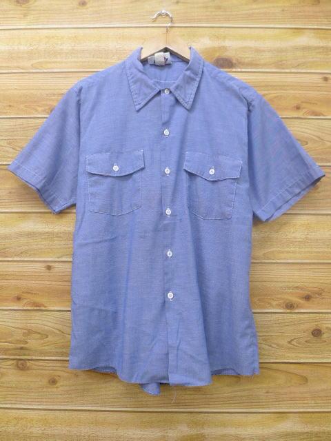 L★古着 半袖 シャンブレー シャツ ディッキーズ Dickies USA製 薄紺 ネイビー 18apr18 中古 メンズ トップス