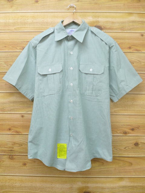 L★古着 半袖 ミリタリー シャツ USA製 緑 グリーン 18apr18 中古 メンズ トップス