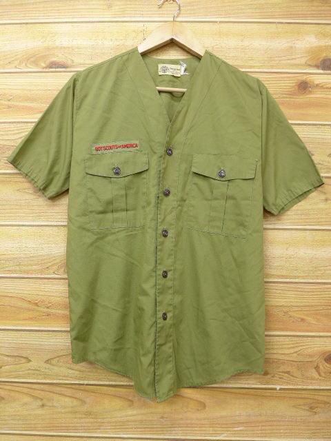 M★古着 半袖 ボーイスカウト シャツ 80年代 緑 グリーン 18jun13 中古 メンズ トップス