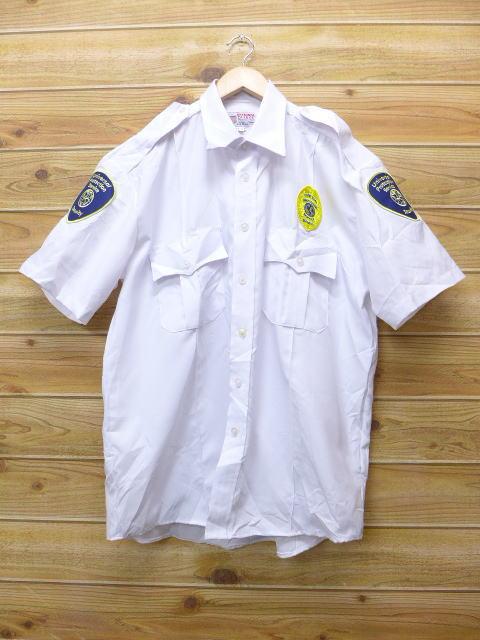 XL★古着 半袖 ワーク シャツ セキュリティ 白 ホワイト 18jun22 中古 メンズ トップス