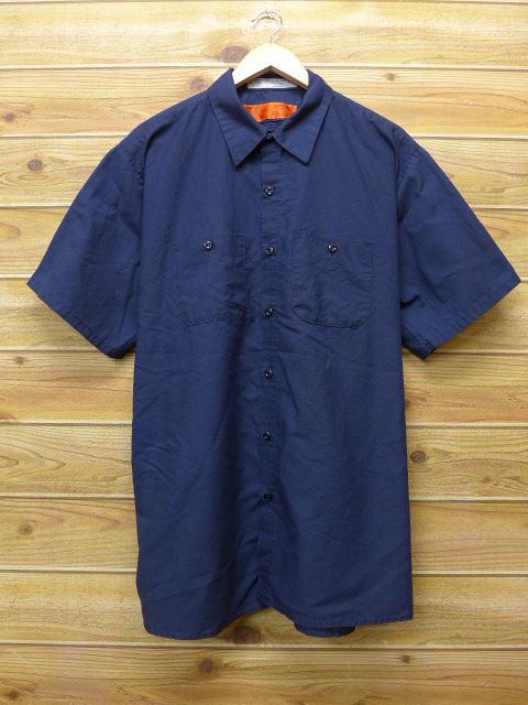 XL★古着 半袖 ワーク シャツ レッドキャップ 大きいサイズ 紺 ネイビー 18jun22 中古 メンズ トップス
