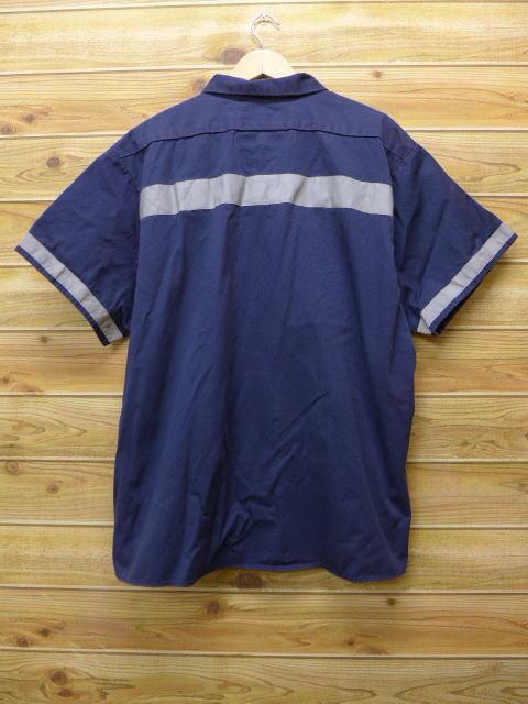 XL★古着 半袖 ワーク シャツ リフレクター 大きいサイズ USA製 紺 ネイビー 【spe】 18jun22 中古 メンズ トップス